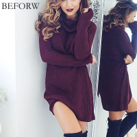 Women Sexy Dress Fashion Autumn Winter Dresses Sexy High Necked Long Sleeve Dress Womens Woolen Knitting