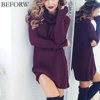 Women Sexy Dress Fashion Autumn Winter Dresses Sexy High Necked Long Sleeve Dress Womens Woolen Knitting