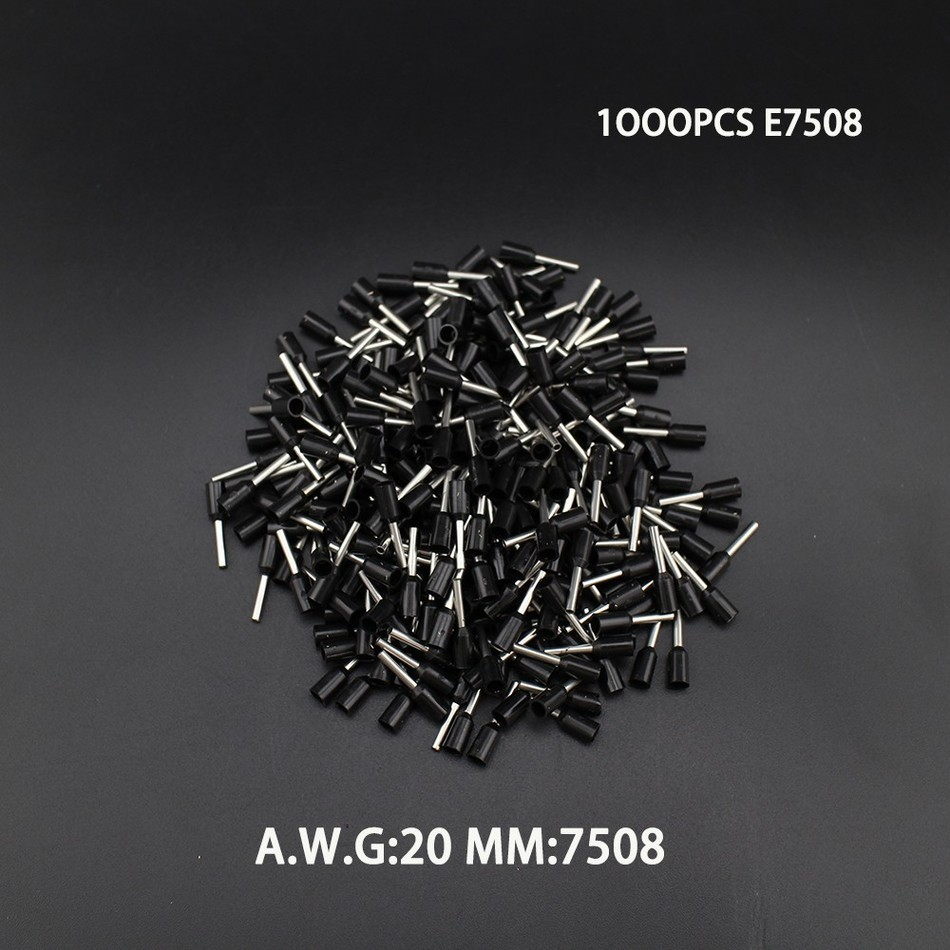 1000pcs E7508 20AWG Copper Crimp Connector Insulated Cord Pin End Terminal Ferrules kit set Wire terminals connector 800pcs cable bootlace copper ferrules kit set wire electrical crimp connector insulated cord pin end terminal hand repair kit