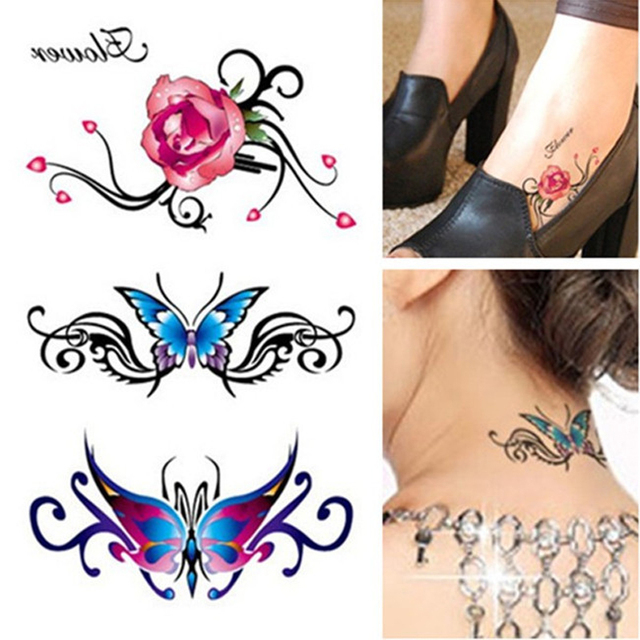 42ff71726 Women's 3D Tattoo Flash Body Art DIY Stickers For Body Glitter Tattoo  Stickers Mini Rose Flower Waterproof Temporary Tattoos