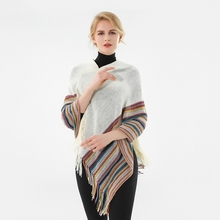 LARRIVED Ladies Warm Winter Hooded Wrap Poncho Wool Scarves Lush Cape,Mantle Ponchos And Capes Outwear Casacos Femininos Tippet
