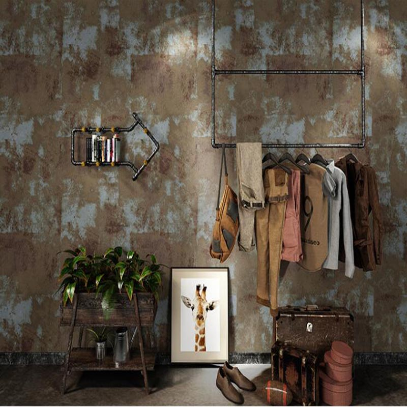 New Nostalgic Vintage Metal Papel De Parede Clothing Store Barber Bar Cement Industrial Style Coffee Shop Restaurant Wallpaper beibehang nostalgic cowboy blue pvc wallpaper net coffee personality shop clothing store theme restaurant coffee shop wallpaper