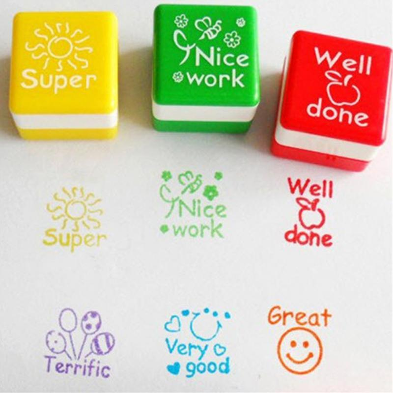 2018 New Arrivials 6pcs Square Shaped Stamps Specified ABS Teachers Comments Cute Cartoon Stamp Set For