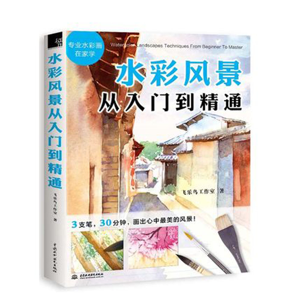 Chinese watercolor landscape painting drawing book from beginner to Master chinese basic drawing book how to learn to draw a chinese painting skills for landscape flowers fruits page 4