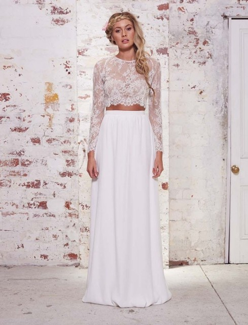 9994f4e920b Simple Two Piece Wedding Dress 2016 O-Neck Long Sleeve Button Sweep Train  Chiffon Applique 2016 White Bridal Dresses Gowns