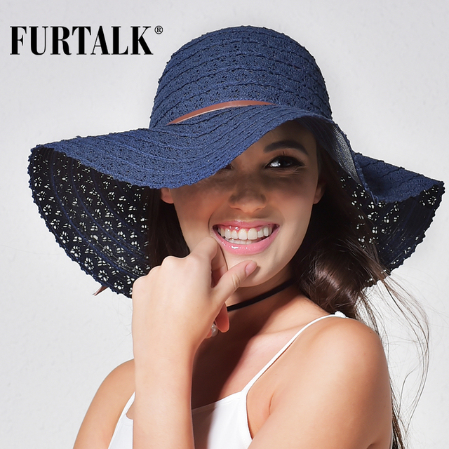 Women Fashion Design Beach Sun Hat Foldable Brimmed Straw Hat