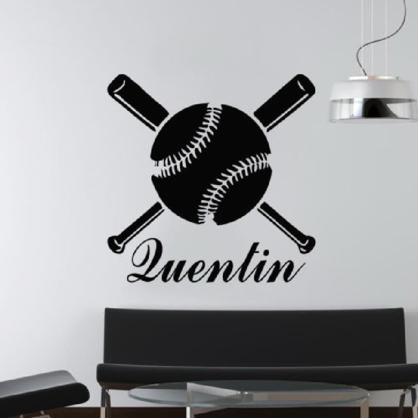 Wall Decal Personalized Custom Name Baseball Bat Sticker Bedroom Boys Baby Room Interior Design Removable Decor Ww 37