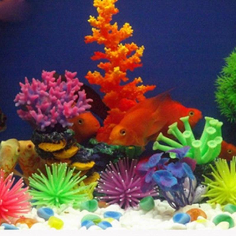 Silicone artificial fish tank aquarium fake coral plant for Artificial coral reef aquarium decoration