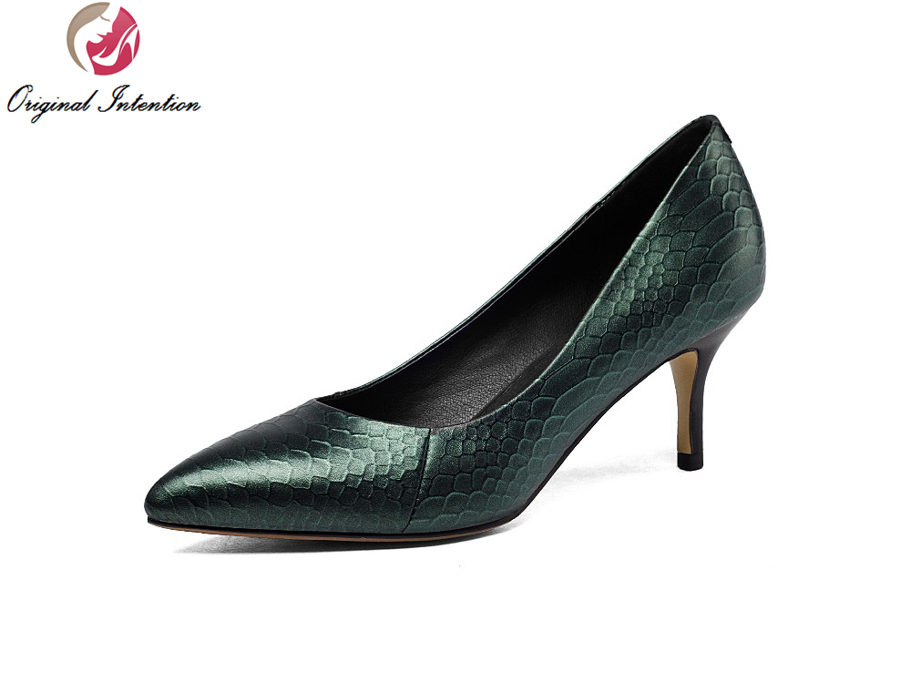 ФОТО Original Intention New High-quality Women Pumps Pointed Toe Thin Heels Pumps High-quality Black Green Shoes Woman US Size 4-10.5