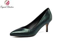 Intención Original Nuevo de Alta Calidad de Las Mujeres Bombas de Punta estrecha Tacones Finos Bombas Zapatos de Mujer de Alta Calidad Negro Verde Tamaño EE.UU. 4-10.5