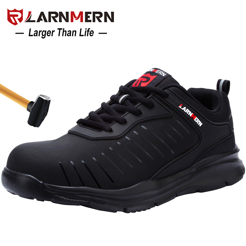 LARNMERN Mens Steel Toe Safety Work Shoes For Men Lightweight Breathable Anti Smashing Non Slip Anti