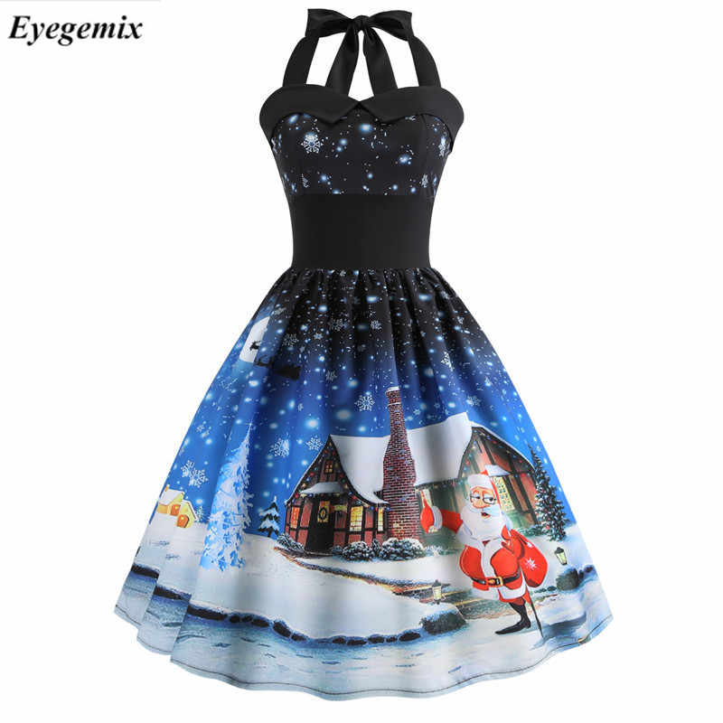 Vintage Dresses 2018 Casual Snowflake Women Robe 50S 60S Rockabilly Swing Pinup Vestido High Waist Cat Print Halter Party Dress