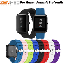 ZENHEO 20mm Sports Silicone Wrist Strap for Xiaomi Huami Amazfit Bip BIT PACE Lite Youth Smart Watch Replacement Band Smartwatch [free strap] 2018 xiaomi huami amazfit smart watch youth edition bip bit pace lite 32g ultra light screen 1 28 waterproof gps