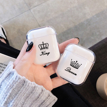 Transparent Soft Cases For Apple Airpods Wireless Bluetooth Earphone Cute Cartoon King Queen Clear C