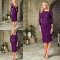 Бесплатная доставка 2015 элегантные фиолетовый короткий мать невесты кружевные до колен с три четверти матери вечернее платье