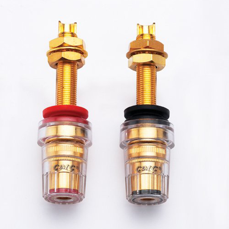 CMC-858-L-CU-G Binding Post Brass Gold Plated Audio  Speaker  Long  Binding Post Terminal Plug