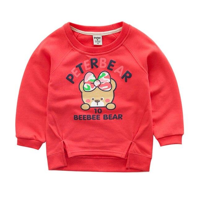 Новый Бренд дизайн Дети хлопка Толстовки Моды Свитер детская одежда мультфильм Девочек Футболка Пуловеры 4 Цветов 100-125 см