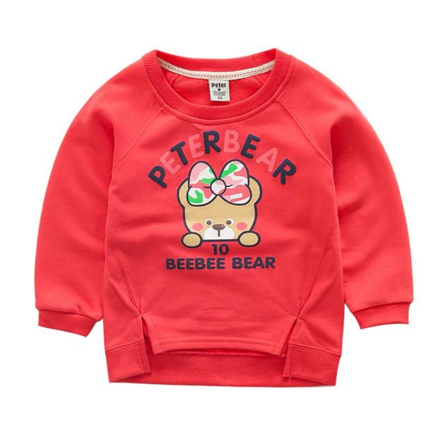 Nuevo diseño de Marca Niños Sudaderas Con Capucha de algodón ropa Niños Suéter de La Manera Muchachas de la historieta Sudadera Pullover 4 Colores 100-125 cm
