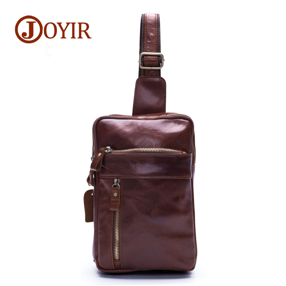 JOYIR Genuine cowhide leather men chest pack Vintage crossbody chest bag small shoulder bags for male packs belt bag man bag8560 patriot max power srge 6500