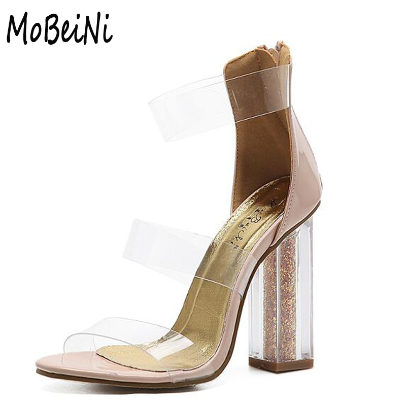 8974811559f clear Heels Shoes 2017 The New Women Summer Sandals Casual Crystal High heels  Sandals nude pumps sexy sandals size 34-40 D1154
