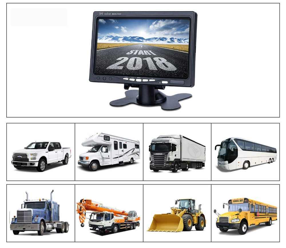 "EMS 7 ""1024x600 سيارة الصناعية عكس النسخ الاحتياطي الرؤية الخلفية شاشات كريستال بلورية 2 AV المدخلات شاشة الكمبيوتر شاشة الكمبيوتر"