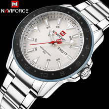 2017 Nueva Llegada de Brand NAVIFORCE Reloj de Cuarzo Deporte de Los Hombres Relojes de Acero Inoxidable Resistente Al Agua Relojes de Pulsera Calendario Automático Reloj De Regalo