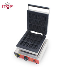 ITOP Commercial Electric Waffle Maker With 0-5 Mins Timer, 1500W Cake Desserts Bakery Iron Oven Machine 110V 220V