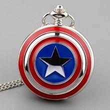 Fob Pocket Perhiasan Kalung Marvel Superhero Seri Amerika Captain Star Perisai Cover Keren Anak-anak Khusus Anak-anak Penggemar Hadiah Jam