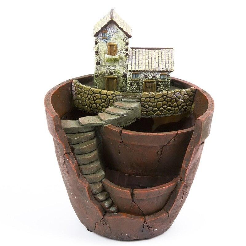 15.5*13.5*19cm Resin Flower Pot for Succulent Plants Flowerpot Micro-landscape Pot Planter Garden Decoration