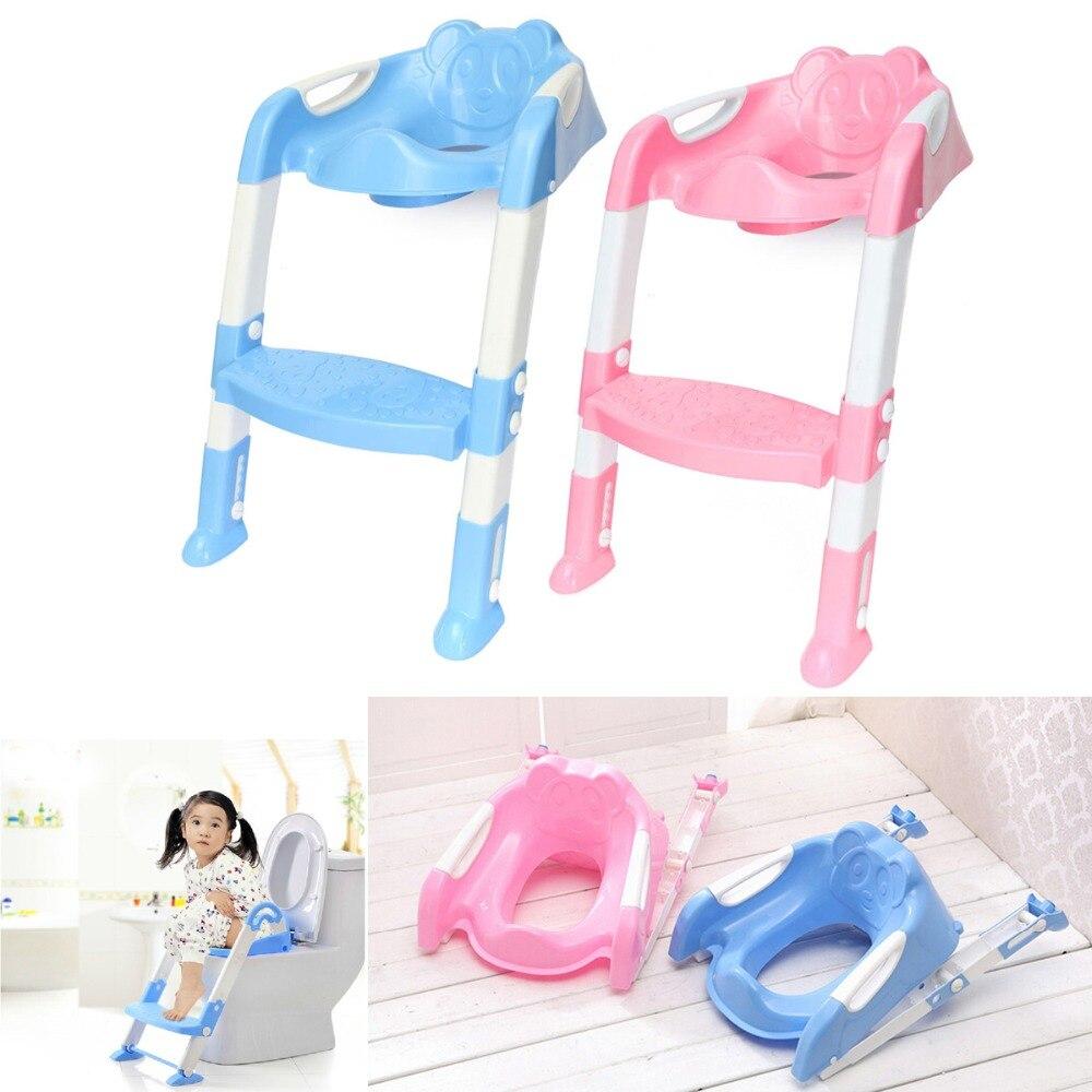 Caliente bebé orinal inodoro entrenador asiento de seguridad silla paso ajustable con escalera bebé baño de la formación-slip plegable asiento