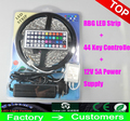 Led Strip Light RGB 5M 5050 SMD 300Led Waterproof  + 44Key Controller + 5A Power Supply With Box Retail Package Christmas Gifts