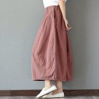 Elastic Waist Cotton Linen Solid Color Women Skirt Vintage Mori Girl Style Casual Summer Skirt Female