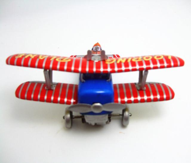 Juguete de colección Classic Retro Estaño Clockwork Wind up Metal Walking Looping Viejo avión avión Mechanical embroma el regalo de navidad de cumpleaños