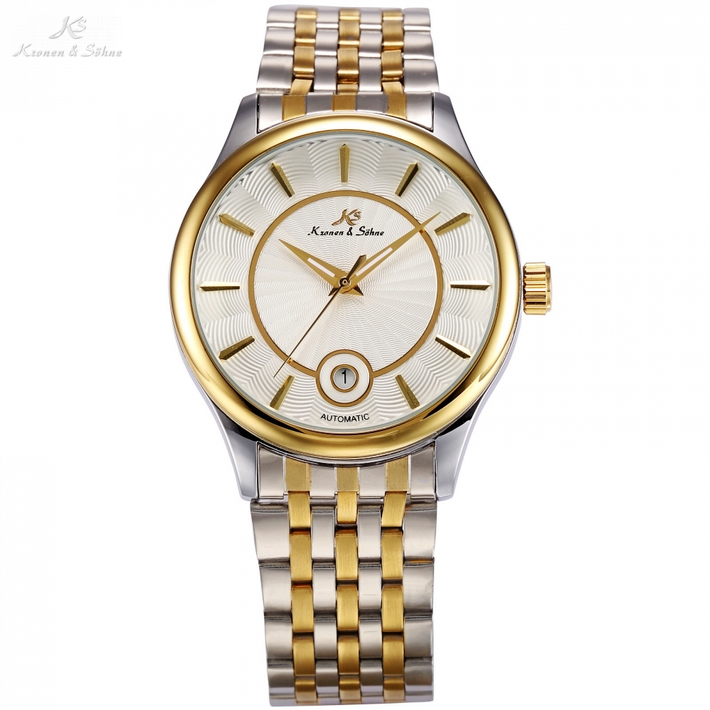 KS Luxury Brand Calendar Display Relogio Silver Gold Dial Steel Band Automatic Self Winding Clock Men Mechanical Watches /KS260 ks watches luxury date day display relogio masculino leather band automatic self winding men mechanical wrist watch gift ks183