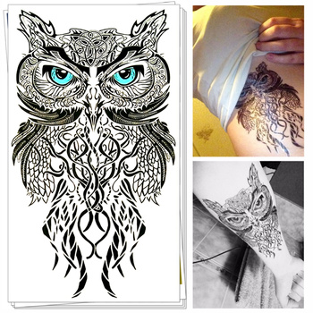 25 Style Wild Temporary Tattoo Body Art, Blue Eyes Owl Designs, Flash Tattoo Sticker Keep 3-5 days Waterproof 20*12cm