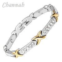2015 Ladies 18K Gold Coating 30 Pcs Crystals Magnetic Bracelet Free Shipping Bio Jewelry Female Women