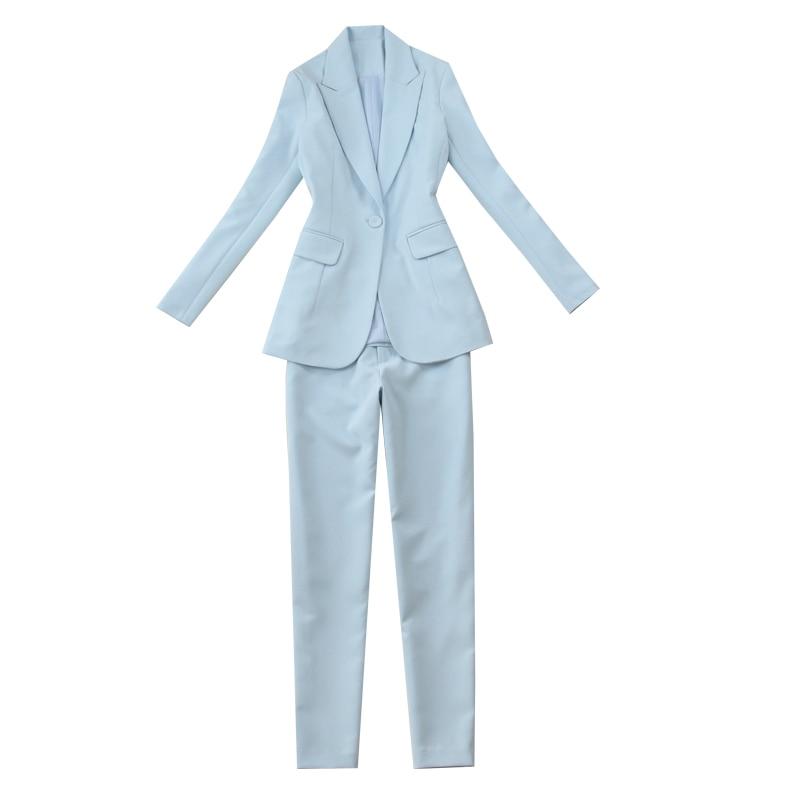 D'affaires Pantalon Pu Deux Ensemble Costumes Femme Femmes Bureau Pièces Fit Blazer Veste Busines Et Uniforme Élégant Ciel Slim wCxqEEvHnF