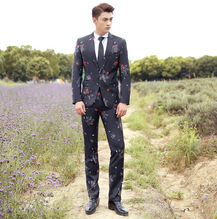 Mariage Groom Wedding Suits For Men Blazer Boys Prom Fashion Slim Masculino Black Print Suit Mens Latest Coat Pant Designs In From S