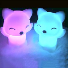 Fox Shape Colorful LED Color Changing Night Lights Create Holiday Atmosphere Family Party Lamp Cute Kids Gifts