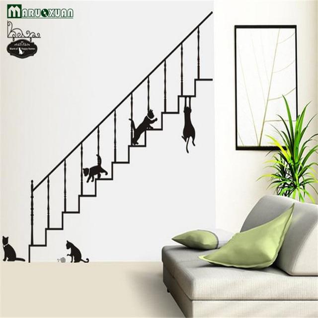 Maruoxuan Cartoon Black Cat Climbing The Stairs Wall Sticker Living Room Bedroom Diy Art Decal