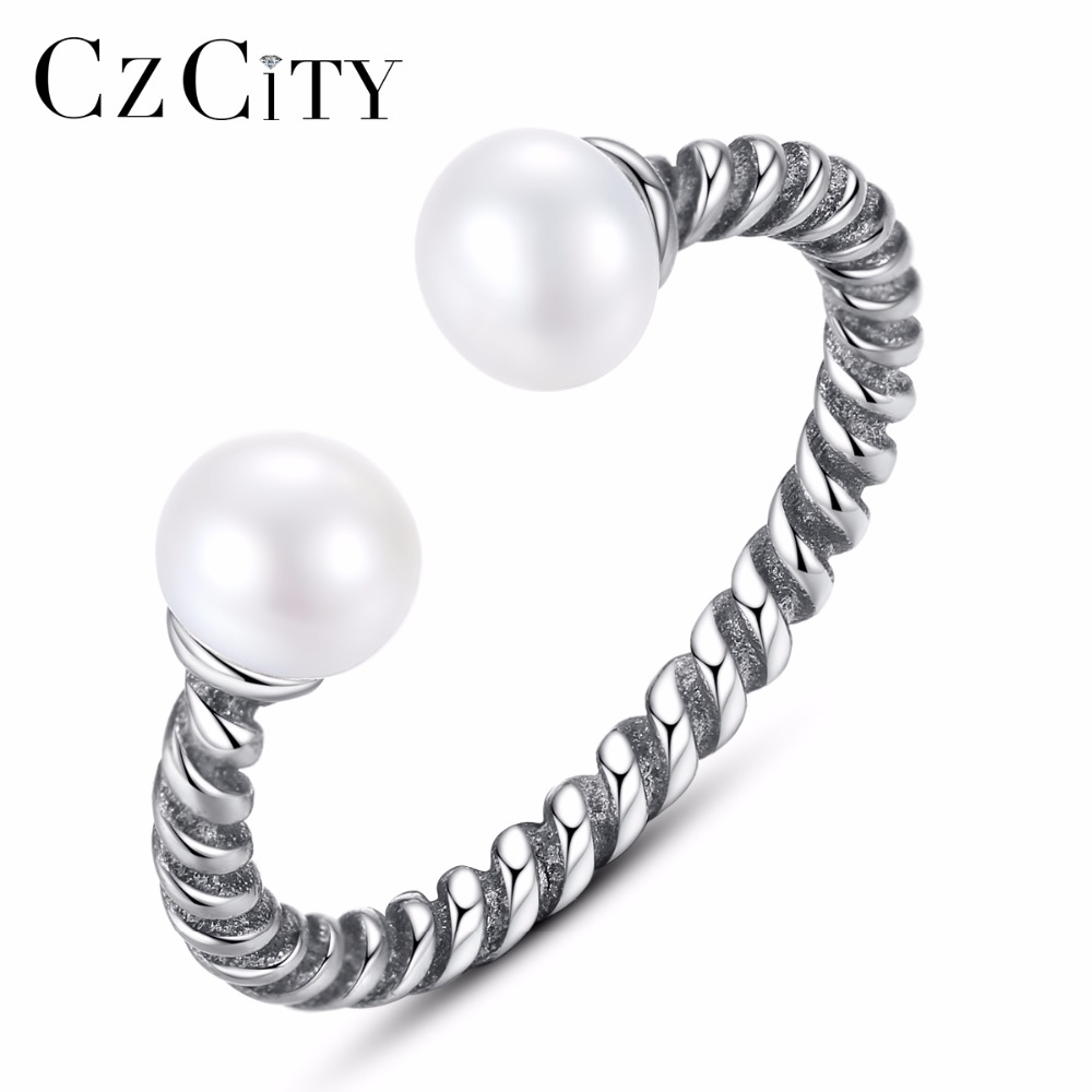 CZCITY 100% 925 Sterling Silver Twisted Rope Of Love, Silver Pearl Open Finger Rings For Women Engagement Jewelry