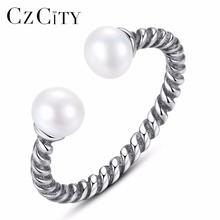 CZCITY 100% 925 Sterling Silver Twisted Rope Of Love, Pearl Open Finger Rings for Women Engagement Jewelry