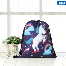 Cartoon Colorful Unicorn Drawstring Bag