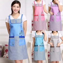 Apron Pocket Chef Cooking Restaurant Kitchen Bowknot Floral Waterproof Women Bib Fashion