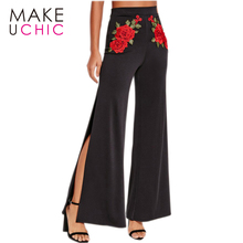 Фотография MAKEUCHIC Apparel Floral Embroidery Black Pants Women Leg Split High Waist Palazzo Pants Ladies Streetwear Casual Pant Female