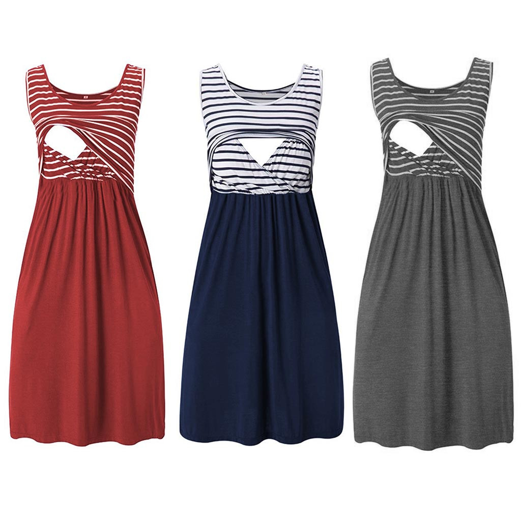 Women Pregnant Maternity Stripe Tunic Breastfeeding Summer Maternity Dress