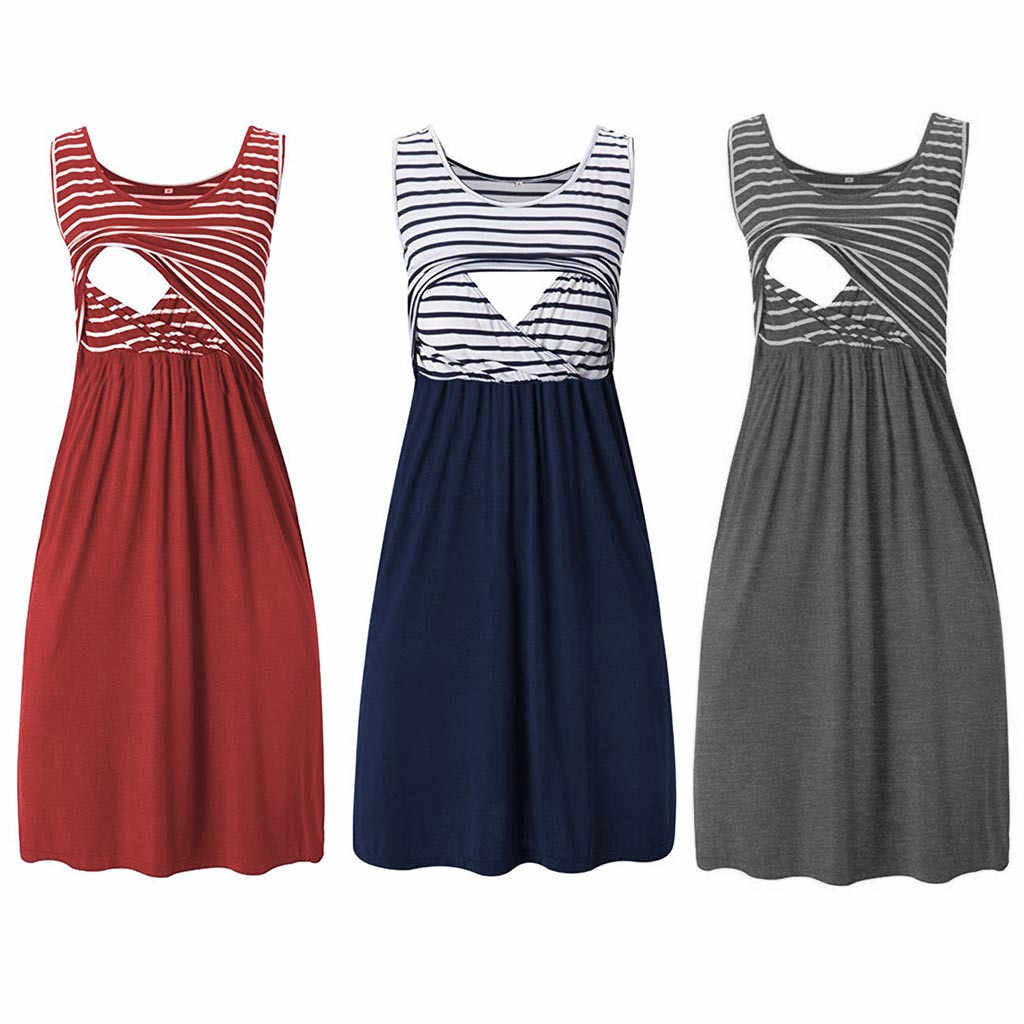 Women Pregnant Maternity  Stripe Tunic Breastfeeding Summer  Maternity Dress