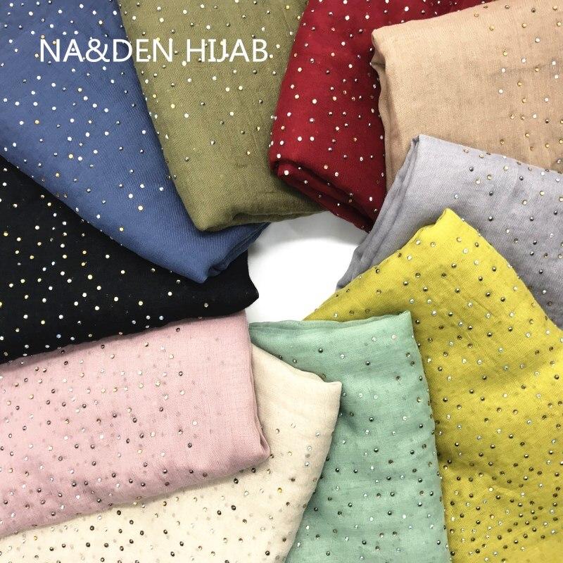 Hot Sale Oversize Plain Solid Tassels Hot Diamonds Studs Cotton Women Hijab Scarf Muslim Gorgeous Bandana 10pcs Fast Shipping