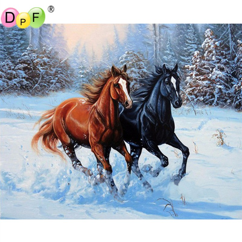 Snow two horse square full Diamond Embroidery mosaic 3d Diy Diamond Painting rhinestone Inlay Mosaic cross stitch crafts