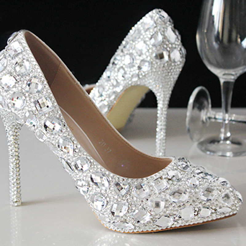 Bridal Shoes Silver: New Summer Crystal Shoes Wedding Shoes Bridal Shoes
